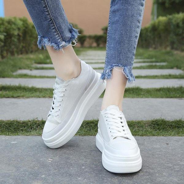 增高鞋 小白鞋增高2019春款2019新款鞋子百搭潮鞋厚底網紅女款內增高女鞋 MKS雙11狂歡