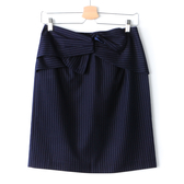 【MASTINA】條紋蝴蝶結扭結包臀裙-藍 秋冬嚴選