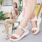 舒適厚底涼鞋 女平底真皮羅馬鞋【多多鞋包店】z227