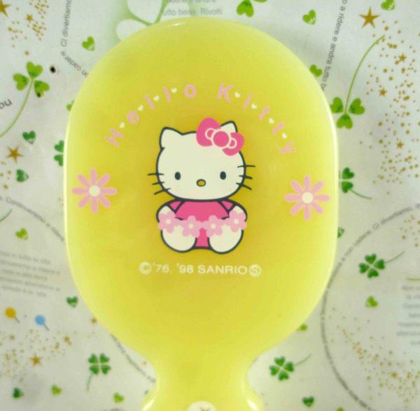 【震撼精品百貨】Hello Kitty 凱蒂貓-KITTY手拿鏡-黃花圖案-橢圓形