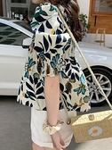 短款襯衫女設計感小眾方領碎花上衣小個子春夏季短袖娃娃衫泡泡袖 伊蘿