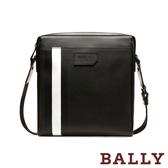 【台中米蘭站】全新品 BALLY SKILL 防刮牛皮黑白條紋前口袋拉鍊斜背包(6224072-黑)