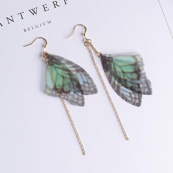 Qmigirl 文藝氣質綠色薄紗蝴蝶翅膀造型不對稱耳環【QG2467】