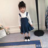 女童牛仔吊帶裙 2019新款時尚兒童裙韓版洋氣小女孩背帶裙 BF21171『寶貝兒童裝』