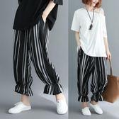 新款夏裝大尺碼女裝韓版寬鬆胖mm條紋鬆緊腰九分褲子