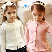 【R4509-1】shiny藍格子-瑕疵特賣.春裝新款女童珍珠圓領長袖外套