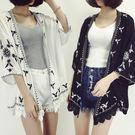 (全館一件免運)DE SHOP~ (N-9225)唯美花朵刺繡罩衫
