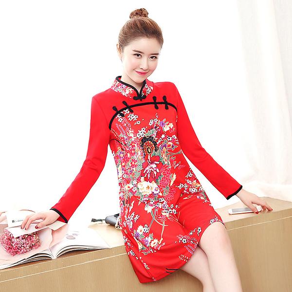 喜慶宴會彈力針織印花旗袍領中國風長袖A版洋裝 (黑 紅)二色售 11852035