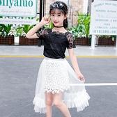 女童短裙 半身裙百褶裙兒童短裙子小孩子長裙中大童春夏天套裝黑色紗裙【快速出貨】