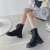 韓國英倫風松糕厚底瘦瘦靴女2020秋季圓頭系帶馬丁靴騎士機車短靴女潮【居享優品】