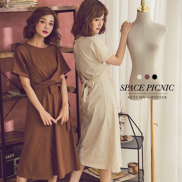 洋裝  Space Picnic|開衩綁腰素面長版短袖洋裝(現+預)【C18081004】