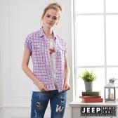 【JEEP】女裝 甜美造型格紋短袖襯衫-紅藍格