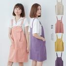 青春多彩方口袋斜紋吊帶裙-BAi白媽媽【310562】