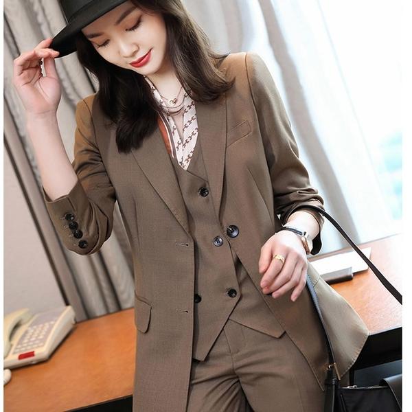 棕色上班復古型西裝外套[21X105-PF]美之札
