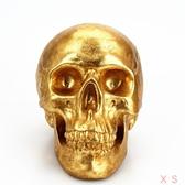 骷髏頭金色樹脂存錢罐桌面擺飾儲錢罐萬圣節搞怪禮品 莎瓦迪卡