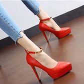 春季新款尖頭一字搭扣超高跟鞋細跟厚底防水台紅色系婚鞋女鞋單鞋 時尚潮流