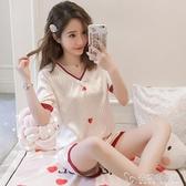 睡衣女士夏季冰絲短袖薄款可外穿兩件套裝韓版學生春秋家居服可愛「安妮塔小鋪」