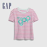 Gap女童 Logo圓領條紋短袖T恤 577824-蔚藍色