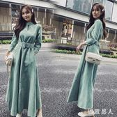 新款洋裝 法式復古裙山本春裝2019新款女韓版收腰氣質中長款長袖超仙洋裝 ZJ4838【極致男人】