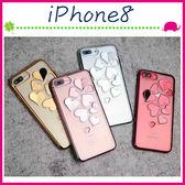 Apple iPhone8 4.7吋 Plus 5.5吋 電鍍邊愛心手機殼 立體心心保護套 透明手機套 鏤空保護殼 軟殼
