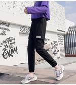 夏裝新款工裝褲女褲子款束腳顯瘦黑色寬鬆bf休閒高腰秋