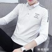 中大尺碼男士長袖t恤韓版翻領打底POLO衫有帶領T恤zzy7171 『時尚玩家』