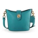 COACH Addie荔枝紋皮革旋扣斜背水桶包(藍綠色)195414