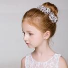 白色水鑽花朵頭飾 花環 禮服搭配 飾品 髮飾 女童 橘魔法 現貨 童裝 花童 禮服 畢業典禮