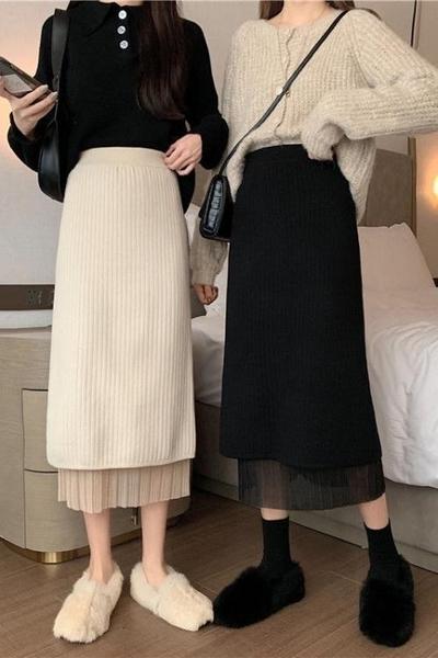 紗裙 百摺毛線一步針織半身裙秋冬女中長款開叉包臀裙子兩面穿雪紡紗裙 韓國時尚週 免運