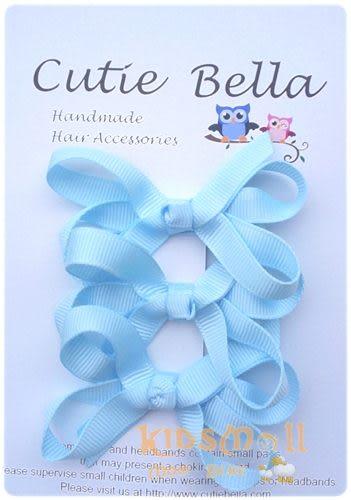 Cutie Bella蝴蝶結髮夾三入組-Sky