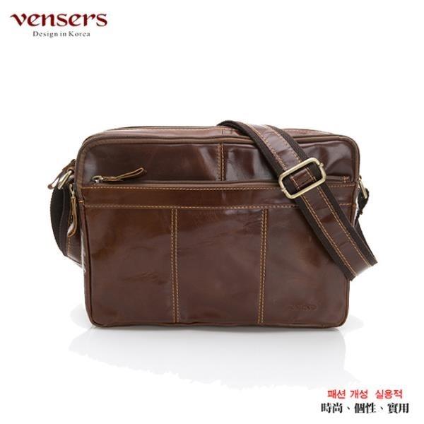 【南紡購物中心】【vensers】小牛皮潮流個性斜肩背包(NE883701黃油皮大號)