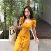 長洋裝 裙子女 2020夏季新款chic氣質修身顯瘦方領短袖洋裝中長裙