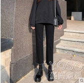 牛仔直筒褲-黑色牛仔褲女春裝新款高腰顯瘦百搭寬鬆九分 優尚良品