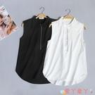 無袖襯衫夏季新款無袖襯衫女韓版寬鬆顯瘦白襯衣百搭職業裝套頭衫潮打底衫 愛丫 新品