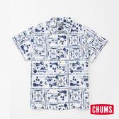 CHUMS 日本 男 Chumloha 印花風格 短袖襯衫 白 CH021033W001
