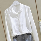 棉麻白色襯衫女2020春秋新款寬鬆韓版長袖原宿襯衣上衣設計感小眾 果果輕時尚