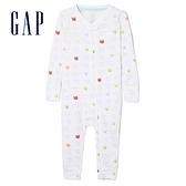 Gap嬰兒 可愛長袖一件式連身衣 595998-光感白