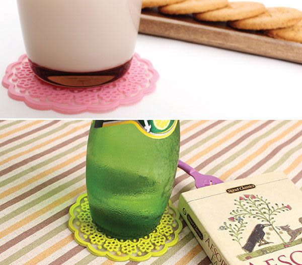 【BlueCat】韓風Lace cup半透明唯美蕾絲花邊造型矽膠隔熱杯墊