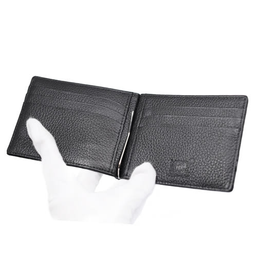 MONTBLANC萬寶龍 大班系列鱷魚紋牛皮鈔票夾短夾 黑色