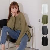 純色寬鬆針織棉長版T恤-BAi白媽媽【310820】