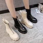 短靴前拉錬瘦瘦靴增高小個子馬丁靴女英倫厚底秋冬款中筒百搭短靴易家樂小鋪