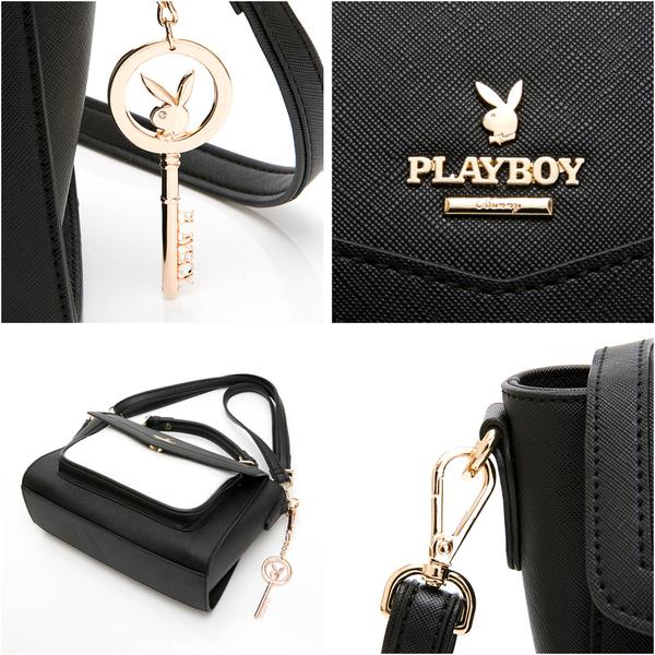 PLAYBOY- 翻蓋書包 黑白摩登系列 -黑色
