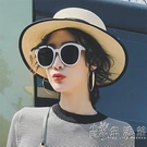 韓國羅馬假日太陽鏡女士潮網紅同款圓框偏光復古墨鏡白色沙灘百搭 小時光生活館