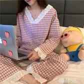 睡衣 睡衣女秋季韓版可愛學生甜美日系格子長袖花邊少女兩件套裝家居服 韓菲兒