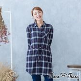 【Tiara Tiara】漢神秋冬 英倫學院風腰綁帶長版襯衫(藍/綠/灰)