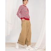 CANTWO知性高折邊造型直筒寬褲-二色-卡色