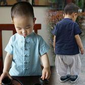 男童襯衫短袖夏季漢服唐裝復古中式風童裝潮