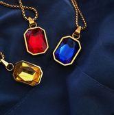 85折嘻哈潮流鍍金色紅藍寶石吊墜男女項錬99購物節