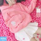 【V2681】shiny藍格子-粉俏甜美‧愛心刺繡大口袋刷毛長袖連帽上衣