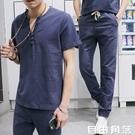 夏季男士短袖t恤亞麻套裝男中國風休閒大碼潮流夏裝棉麻一套衣服 自由角落